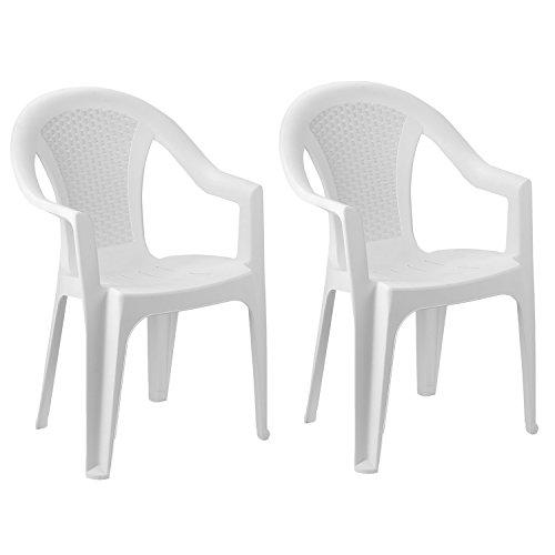 FineHome Set van 2 tuinstoelen stapelstoel tuinstoel bistrostoel tuinstoel stapelbaar kunststof rotan-look tuinmeubelen wit