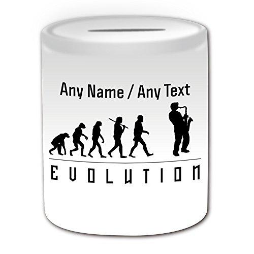 UNIGIFT Gepersonaliseerd geschenk - Saxofoon Money Box (Evolution Design White) Elke Naam Bericht Uniek - Speler Outline Event Hobby Klassieke Muziek Sax Jazz Bass Band Geschiedenis