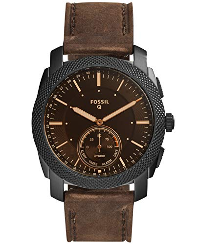 Fossil Q Men's Q Machine Hybrid Stainless Steel Watch with Leather Calfskin Strap, Brown, 24 (Model: FTW1163) 4