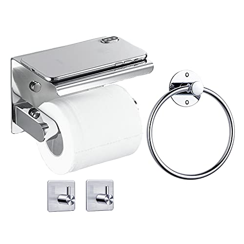Portarrollos Baño AIESTUN Porta Rollos de Papel Higienico Accesorios Baño Sin Taladro Toallero Adhesivo 2 Ganchos Adhesivos con Perforación Partes para Baño Cocina