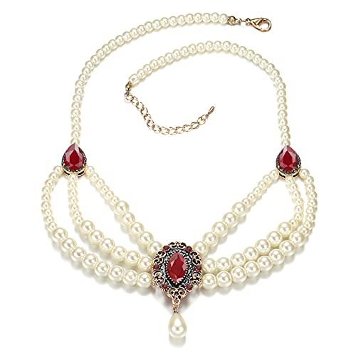 ZhenS Elegante Gargantilla con Tres Brillantes de circonitas, Collar de Perlas para Mujeres, niñas, Bodas, Fiestas, Regalos de joyería Vintage, Rojo, 36 + 6cm