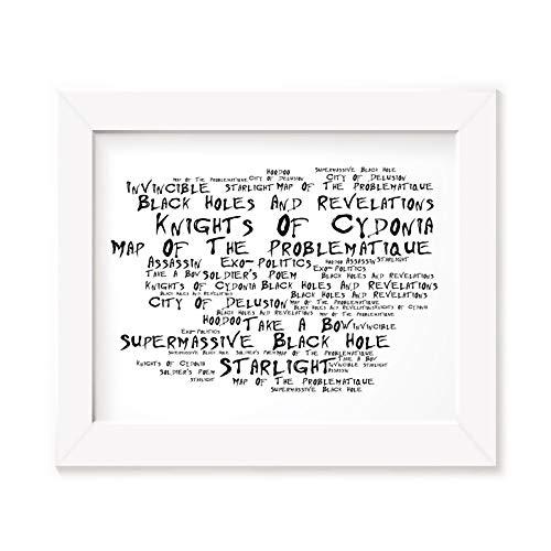 Muse Póster enmarcado A4 Marco de fotos A3 Canciones, banda de arte con agujeros negros y revelaciones