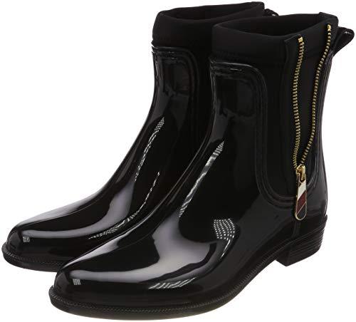 Tommy Hilfiger Damen Material Mix RAIN Boot Gummistiefel, Schwarz (Black 990), 40 EU