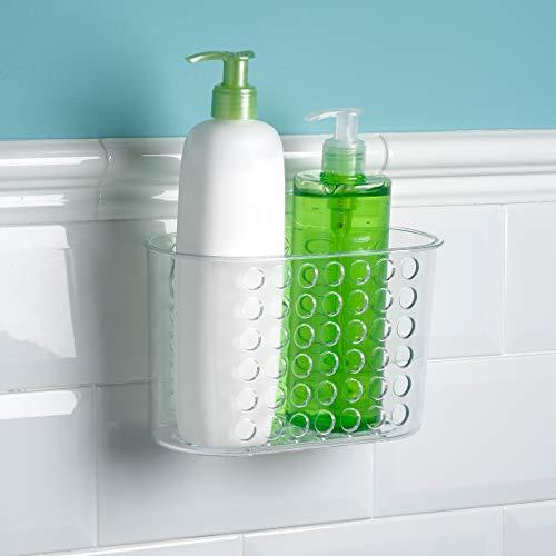 Plastic Forte Kunststoff starker Duschaufsatz ohne Bohren. Transparenter Badezimmerkorb Maße: 20 x 11,5 x 12 cm, Mehrfarbig, Einheitsgröße