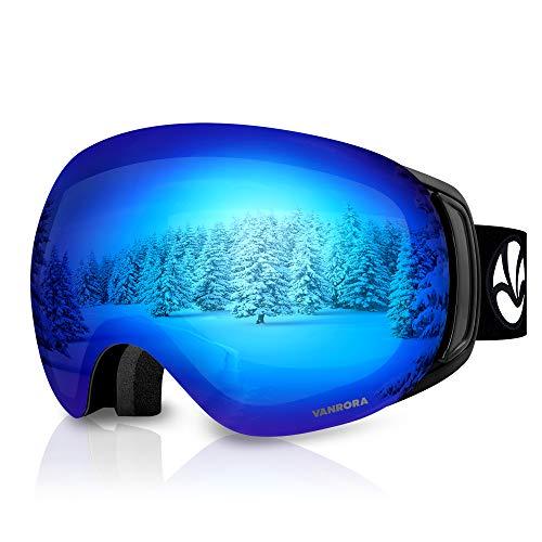 VANRORA OTG Ski Goggles, Snowboard Goggles, Black / Revo Blue (VLT 10.5%)