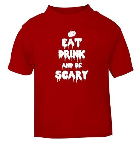Flox Creative T-Shirt pour bébé Motif Eat Drink Scary Noir - Rouge - 6-12 Mois
