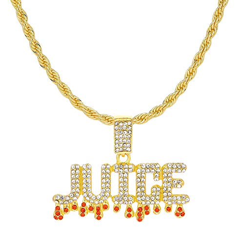 HH Bling Empire Unisex Hip Hop Iced Out Silver Gold Cz Diamond Bubble Dripping Full Name Letters Words Pendant Chain Necklace (Juice - Gold, with Rope)