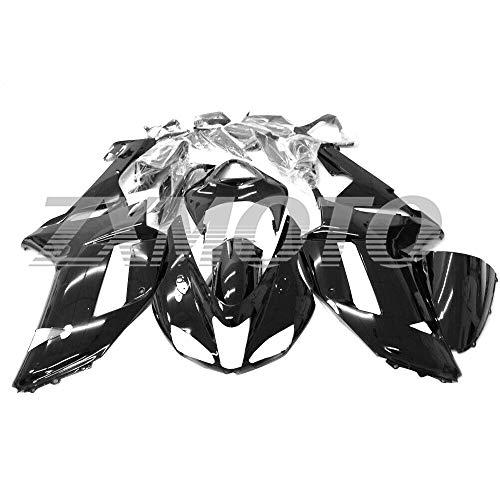 ZXMOTO Motorcycle Bodywork Fairing Kit for Kawasaki Ninja ZX6R 636 ZX 600P 2007-2008 Glossy Black - (Pieces/kit: 24)