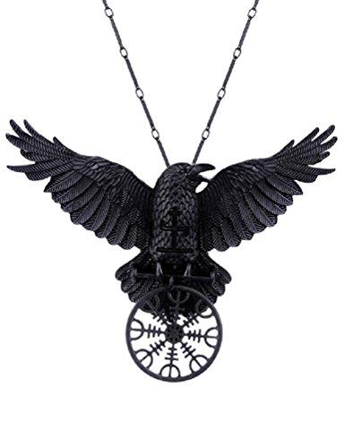Restyle Helm of Awe Raven Gothic Pendant Necklace Rune Norse Mythology Viking