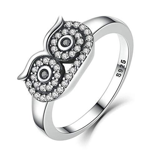 LIXIAQ1 Eulenring Zirkonia Hohlraum Knöchelgelenk Ring für Frauen Valentinstag Schmuck Geschenk, 6