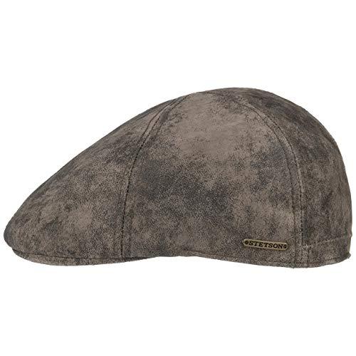 Stetson Texas Gorra de Cuero Hombre - Gorra Plana Estilo Gatsby - Gorra con Forro - Gorra de Cuero Verano/Invierno marrón XXL (62-63 cm)