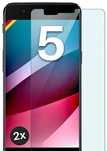 moex Panzerglas kompatibel mit OnePlus 5 - Schutzfolie aus Glas, bruchsichere Bildschirmschutz Folie, Crystal Clear Panzerglasfolie, 2X Stück