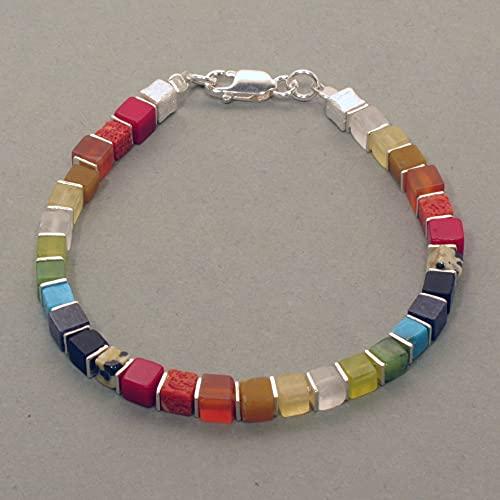 Pulsera arcoíris, dados, plata
