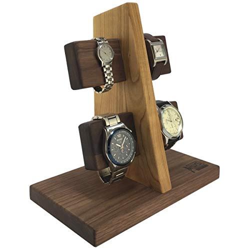 Wood Spot Uhrenständer für 4 Uhren, Uhrenhalter, Armbandhalter, für Männer, Echtholz,(Walnussholz-Kirschholz) Handgefertigt, Praktische Lösung für Solaruhren, Natur, Geschenke für Männer