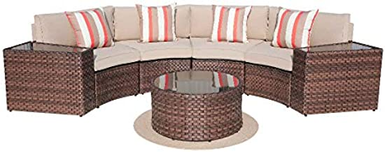 SUNSITT Outdoor 7-Piece Half-Moon Sectional Furniture Set with Round Coffee Table, Patio Curved Sofa Set, Beige Cushion and Brown Wicker, Incl. Waterproof Cover