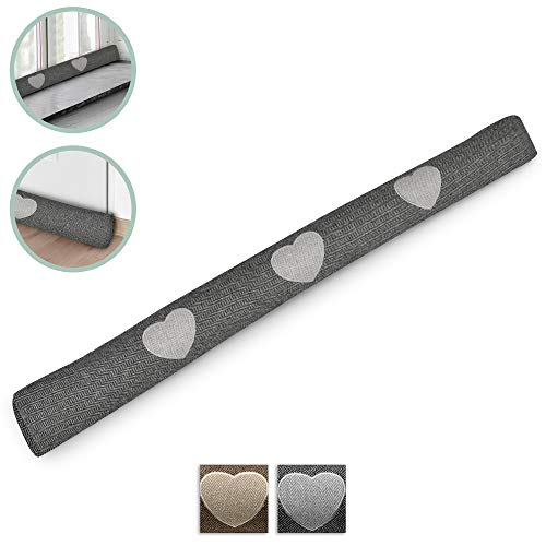 Beautissu Draught Excluder Tuuli HR 90 x 8 cm Draft Stopper Cushion for Doors/Windows Draft Guard Insulator Anthracite