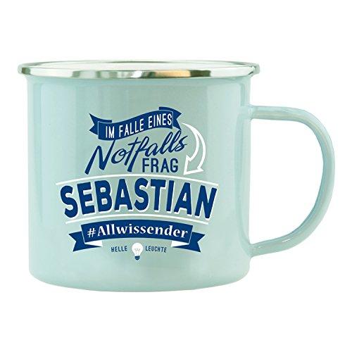 History & Heraldry Echter Kerl Emaille Becher, Sebastian, Mehrfarbig