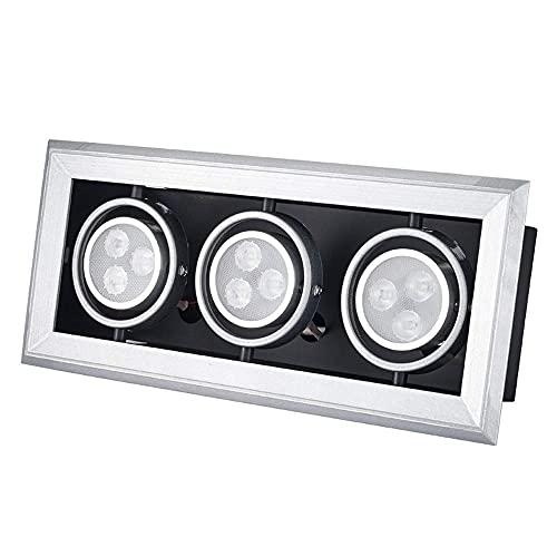 Focos bombillas Lámparas empotradas con marco redondo Ajuste de luz 6W Blanco natural 4000K 600 Lumen 54W Bulbos halógenos Equivant 2835 SMD [Clase de energía A ++] Downlights Techo Luces de techo BJY