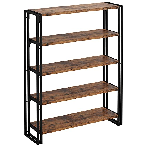 IRONCK Industrial Bookshelf and Bookcase 5 Tier, Wood and Metal Bookshelves Storage Shelves for Home Office, Sturdy Easy Assembly, Rustic Brown