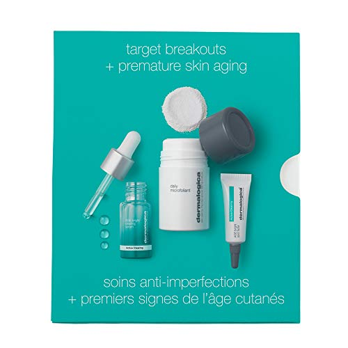 Dermalogica Clear and Brighten Kit - Set Contains: Face Exfoliator, Face Serum, and Acne Spot Treatment - Maintains Consistently Clear, Healthy Skin