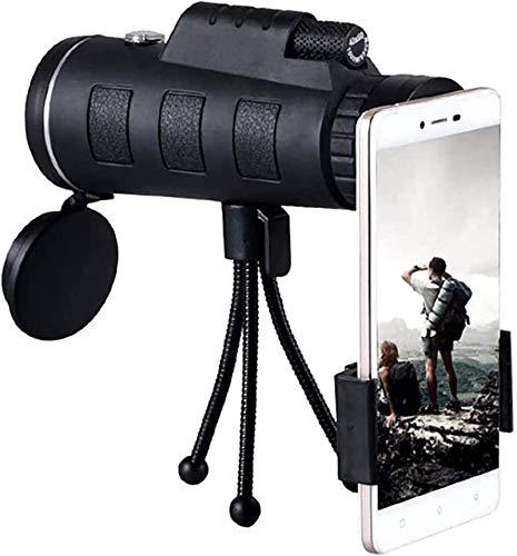 YUIOLIL Monocular Starscope Teleskop, 40X60 Monocular Scope Handyteleskop mit Smartphone Halter Stativ Kompatibel Vogelbeobachtung Camping Wandern Reisen Wildlife Secener