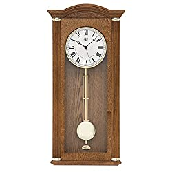 River City Clocks Oak Chiming Wall Clock with Brass Accents