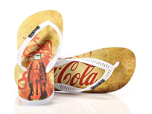 Coca Cola Shoes Bottle, Tongs pour homme, blanc, 41/42
