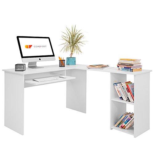COMIFORT Escritorio Forma L - Mesa de Estudio con Estantería de Estructura Firme, Moderna y Minimalista con 2 Baldas Espaciosas y de Gran Capacidad, Color Blanco