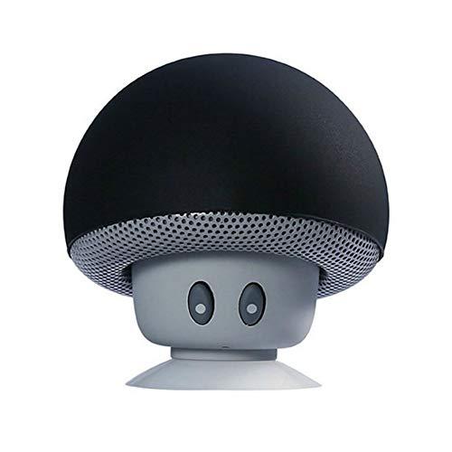 Fablcrew 1Pcs Mignon Champignon Mini Enceintes Bluetooth Haute- Parleur sans Fil pour Smartphone à Ventouse pour Smartphone(Noir)
