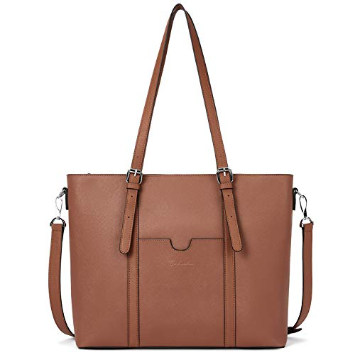 BOSTANTEN Womens Genuine Leather Handbags Top-Handle Bag 15.6 inch Laptop Shoulder Bag Large Capacity Ladies Work Tote Bags Brown