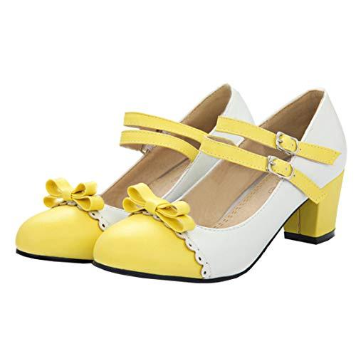 MISSUIT Damen Mary Jane Riemchen Pumps mit Blockabsatz und Schleife Rockabilly Lolita Cosplay Schuhe(Gelb,38)