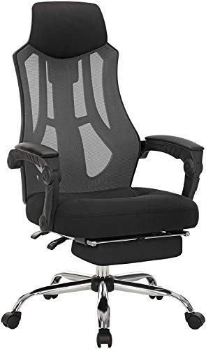 SONGMICS Mesh Office Chair, Swivel Chair with Headrest and Footrest, Adjustable Height and Back, Ergonomic, Black and Dark Gray UOBN056B01