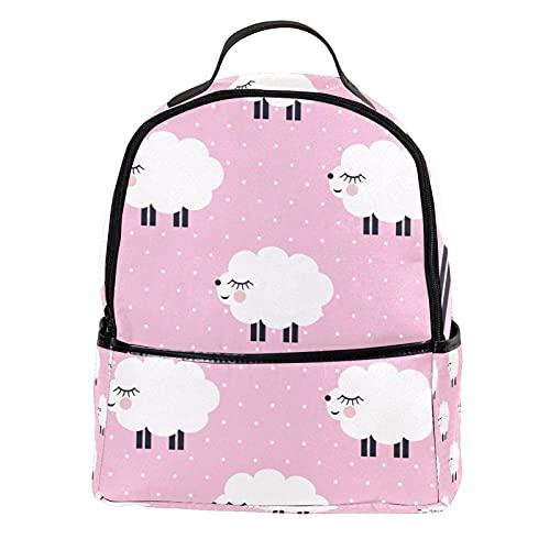 ATOMO - Mini zaino casual con nuvola bianca timida pecora rosa pois in pelle PU da viaggio borse per la spesa