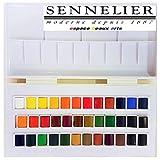 Set studio de acuarela, 36 medio godets,Caja de pintura de acuarela plástica Sennelier,MADE IN FRANCE,ESPACEBEAUXARTS
