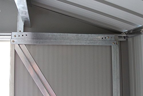 COSTWAY Metall Gerätehaus Gartenhaus Geräteschuppen Metallgerätehaus Geräteschrank Metallschuppen Garten Schuppen mit Satteldach inkl. Metallfundam...