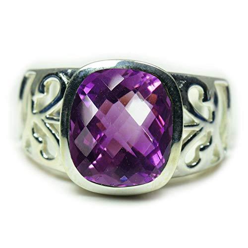 55Carat Mujer Hombre plata de ley 925 plata de ley cojín Purple Amatista natural