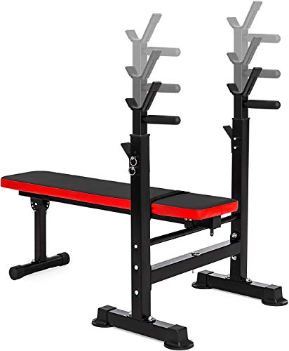 BalanceFrom RS 40 Adjustable Folding Multifunctional Workout Station Adjustable Olympic Workout Bench with Squat Rack, Black