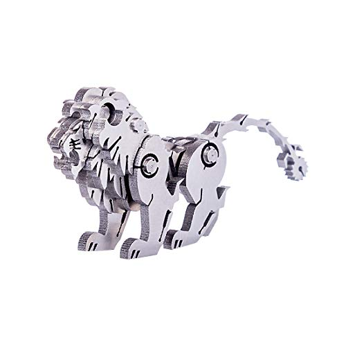 Fujinfeng Metal Puzzle Model Kit, Lion 3D Metal Stainless Steel Jigsaw DIY Assembled Model Construction Toys Ornaments Crafts Kits