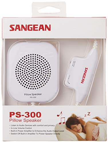 Sangean PS-300 Pillow Speaker with In-line Volume Control and Amplifier (White)