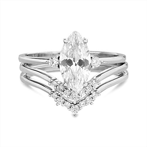 TwoBirch 925 Silver Marquise Three Ring Bridal Set with Three Stone Marquise Engagement Ring and Two Matching Chevron Contour Bands (925 Silver, Size 7)