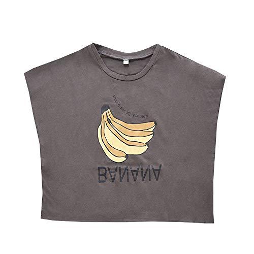 Plus Nao(プラスナオ) Tシャツ カットソー 半袖 ドルマンスリーブ ラウンドネック キッズ 子供服 トップス 切りっぱなし バナナ プリント グレー 90cm