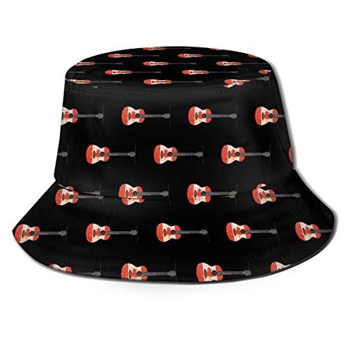 Yearinspace Sombrero de pescador de moda para guitarra acústica canadiense envejecida y desgastada sombrero de pescador para exteriores, visera de sol, color negro