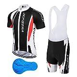 JEPOZRA Maillot Ciclismo Corto De Verano para Hombre, Respirable Secado Rápido Ciclo Jersey de Manga Corta + 9D Almohadilla De Gel Culote y para Bicicleta MTB Ciclista Bici (Negro, M)