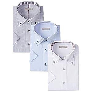[ドレスコード101] ワイシャツ 夏もおしゃれに 半袖Yシャツ メンズ 形態安定 3枚組 セット ビジネスの定番 ボタンダウン クールビズ 夏 3KSSHIRT-SET 個性派半袖3枚セット 首回り41 (日本サイズL相当)
