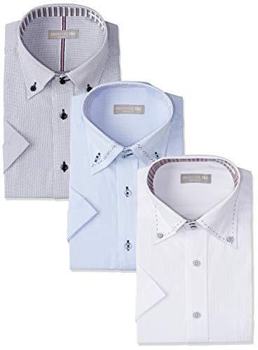 [ドレスコード101] ワイシャツ 半袖 3枚セット Yシャツ 形態安定 3枚組 セット ビジネスの定番 ボタンダウン クールビズ 夏 おしゃれ カッターシャツ メンズ 個性派 半袖3枚セット 首回り41cm