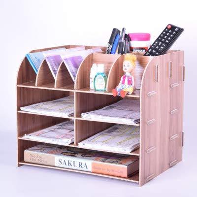 Kreative Multifunktions-Aufbewahrungsbox für den Schreibtisch, A4, Aktenregal, Mehrlagiges Bücherregal Kirsche