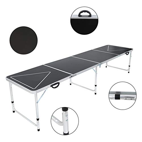 Outdoor Floding Table Desk 8 Foot Adjustable Height Beer Table Portable Picnic Table with Handle