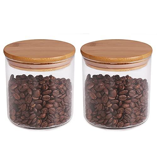 77L Barattolo per Alimenti (Set di 2), 550 ML (18.6 FL OZ) Barattoli di Vetro Addensato con Coperchio in Bambù a Chiusura Ermetica, Contenitore per Alimenti per Servire Caffè, Tè, Spezie e Altro