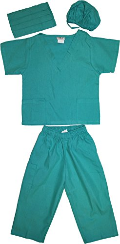 Kids Doctor Dress up Surgeon Costume Set, 8/10, Surgical Green