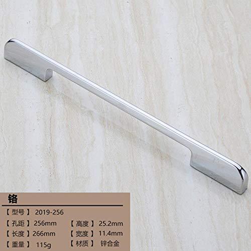 1 x moderner glänzender Schrankknauf, Schrank, Küche, Kleiderschrank, Zinklegierung, einfach, Chrom-Nickeldraht, Zuggriff, helles Chrom, 256 mm.